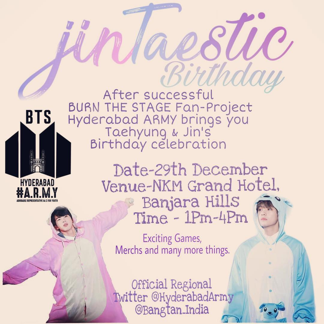 Jin and Taehyung birthday celebration - Hyderabad