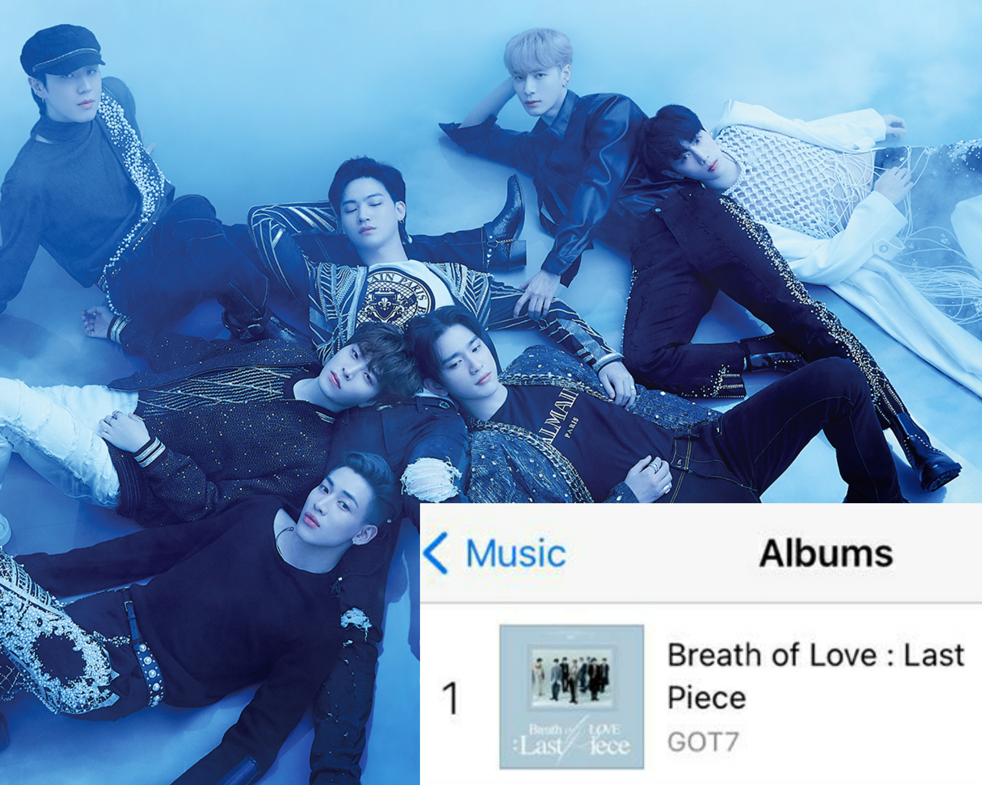 """GOT7 charts at #1 on iTunes India Album Chart with Album, """"Breath of Love: Last Piece"""""""